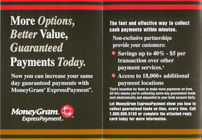 MoneyGram® ExpressPayment- Business-to-Business Self-Mailer