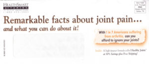 Copy written for Healthy Joints direct mail package
