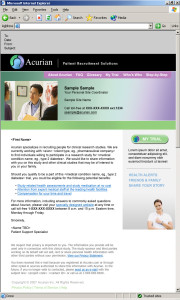 E-mail marketing message for Acurian Clinical Trials