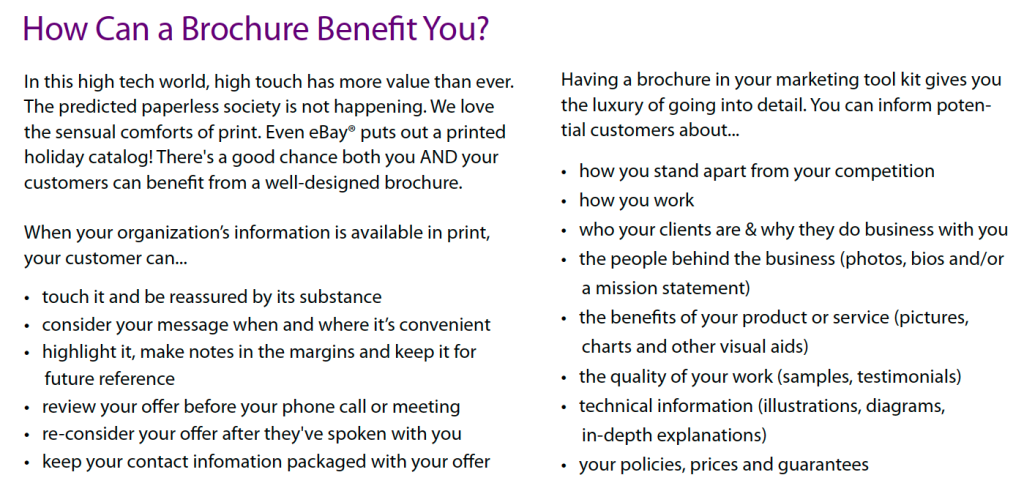 Can a brochure benefit you?